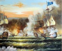 battle art - Pirate Ship Battle Ocean Sea Cannon Caribbean s Seascape Pure Hand Painted Art Oil Painting Canvas any customized size accepted John