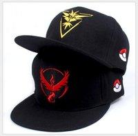Wholesale New Updated Poke Go Baseball Hats Team Mystic InstInct Valor Embroider Ball Logo Caps Unisex Fashion Snapbacks Drop Shipping