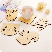 Wholesale Cute Animal Wood Coaster Mats Pads Cup pad wood crafts christmas decoration desktop art decor animals kitchen holiday gift
