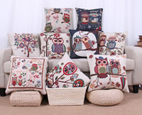 Wholesale 18 Styles of Printing Pillow Cover w Owl Pattern x45cm Cotton Linen Pillow case Throw Pillow Cushion Case Home Decorative pillow