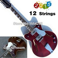 Wholesale Custom String Electric Guitar strings Semi Hollow Body Jazz Guitar High Glossy Mahogany Color High Quality