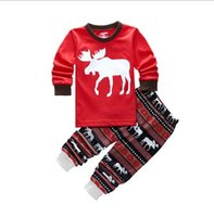 Wholesale Hot Kids Christmas Pajamas Set Elk Pattern Top With Striped Pant Cotton Children Sleepwear set