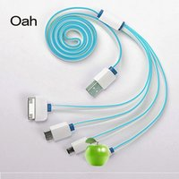 Wholesale Multi function in Micro USB Cable Flat USB Cable sync data charger For Samsung S S3 S4 HTC
