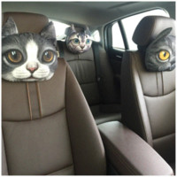 Wholesale New Cool D Cute Cate Printed Animals Face Car Headrest Pillow Activated Carbon Seat Covers Neck Auto Safety Headrest Supplies