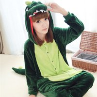 Wholesale 2017 The dinosaur Animal Pajamas Hoodies Flannel Long Sleeves Long Tail Unisex Adult Pajamas Halloween Cosplay Costumes Green Pink