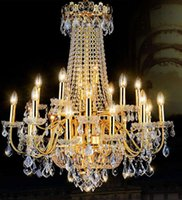 Wholesale Modern Led Chandelier Luxury Chrome Large K9 Gold Crystal Chandeliers Lighting Lustre Cristal Upscale Lustre Living Room Lobby Hotel