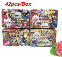 Wholesale 42pcs Set New Edition Poke Card With Metal Box Hot Poke Trading Game Collection Cards Anime Figures Christams Gift