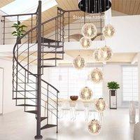 Wholesale Modern Lustre long Stair Led Round Glass Ball Chandelier Lighting E27 lights pendant lamp Living Light Fixture avize