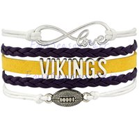 best viking - Custom Infinity Love Vikings Football Bracelet Sports Tean Wrap Braided Leather Bracelet For Football Fans Best Gift Drop Shipping