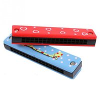 Wholesale 2016 Hot Wooden Painted Harmonica Children Kids Musical Instrument Educational Music Toy random color zf