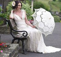Wholesale 2016 New wedding Bridal Lace parasol Cosplay umbrella diameter quot cm and quot cm Bamboo Handle Bridal Accessories
