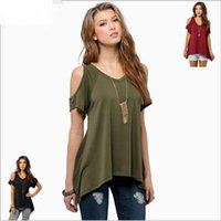 american wind shirt - The European and American wind T shirt Round neck shoulder with short sleeves The tail hem T shirt V collar short sleeve T shirt
