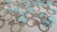 aqua table decorations - Turquoise blue hearts and silver glitter engagement ring confetti Silver glitter ring table decor engagement party aqua blue wedding decor