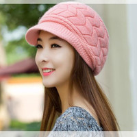 berets for sale - Berets Good Christmas Gift Fashion Cute Woman Knitted Caps Twist Pattern Women Winter Rabit Hair Hat Sweater Hats For Girls On Sale N