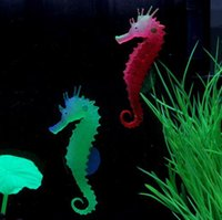 Wholesale Environmental and friendly Luminous Sea Horse Hippocampus Aquarium silicone Fish Tank Decoration