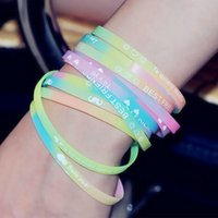 Wholesale printing letters English luminous silicone bracelet bracelet jewelry fashion charm hot movement