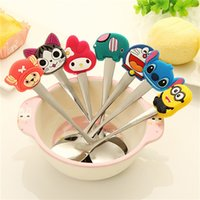 Wholesale Special Cartoon Stainless Steel Spoon Cute Silicon Handle Colher Children Soup Ladle Fashion Coffee Mixing Spoon F388