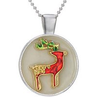 animal christmas ornaments wholesale - The New European And American Christmas Cartoon Reindeer Noctilucent Pendant Necklace Fashion Lovely Luminous Christmas Ornaments