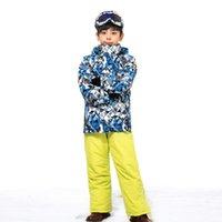 baby skate clothing - Boys Ski Suit Ski Kids Boy Jacket And Pants Snowboard Set Winter Snowsuit Baby Clothing Jacket Waterproof Mountain Skiing