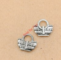 antique jewelry shop - Antique Silver Tone Shopping Bags Charm Zinc Alloy Pendant Jewelry Diy Jewelry Making Handmade x14mm jewelry making