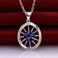 best sliding wheels - New arrival fashion wheel shape silver Pendant Necklaces STPN025A best gift blue gemstone sterling silver jewelry necklace