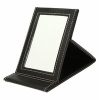 Wholesale 1Pcs Foldable Makeup Mirrors Fashional Black Color PU Leather Travel Mirror Easy To Take Compact Make Up Desktop Tools
