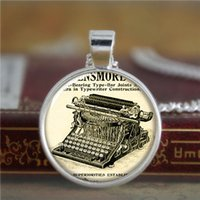 american printing press - 10pcs Vintage necklace pressed in order to print letters necklace glass Photo Writer Jewelry necklace