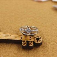 Mujeres de la joyería anillos de dedo de plata de ley 925 Micro Pave Rhinestone del anillo doble del trébol suenan tamaño ajustables