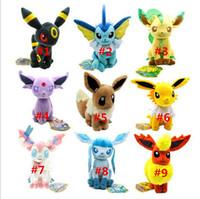 Wholesale 200Pcs Poke Mon cm Poke Center Plush Toys Pikachu Dolls Jolteon Umbreon Flareon Eevee Espeon Vaporeon Poke Mon Stuffed Animals