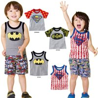Wholesale Europe United States style cotton candy color camouflage kids T shirt superman batman children tank tops boy s fashion tops baby boy clothes
