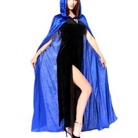 Wholesale Blue Halloween Costume Hooded Death Elf Magician Witch Cloak Masquerade Party Cosplay Clothes for Adul