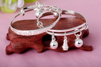 baby indian bangles - Clever Baby S990 thousand foot silver bells silver bangle can push and pull adjustment children bracelets anklets fashion jewelry