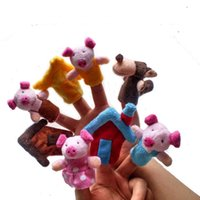 Wholesale The Fairy Tale Finger Puppet the three little pigs Finger Puppet Plush Toys Lovely Toy Cute Cartoon Finger Doll Kids Children Toys