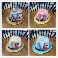 Wholesale Child straw hat jazz hat baby boys and girls wild cartoon visor cap Wide Brim Hats A0222