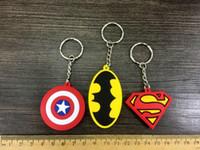 Promotion avengers bottle - DHL Cartoon Keychains Captain America the Avengers Iron man Batman Key decoration Comic key ring Silicone keychains