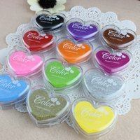 Wholesale 2016 New Arrival Candy Colored Heart Shaped Inks Inkpad Love Diy Creative Partner Multicolor Stamps Pad Stamp DHL Free