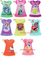 venda por atacado summer pajamas-2016 meninas vestidos do verão Elsa Anna Mermaid Sofia Snow White / Minnie / My Little Pony crianças pijamas camisolas poliéster sleepwear roupas 3 ~ 7T