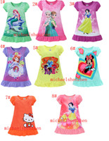 Wholesale 2016 summer girls dresses Elsa Anna Mermaid Sofia Snow White Minnie my little pony kids pajamas polyester nightgowns sleepwear clothes T