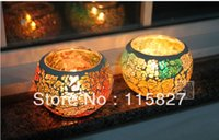 autumn candle holders - Mosaic glass shining candle holder autumn color hand made lantern house or party decoration color