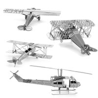 Wholesale D Metal Model Spirit of St Louis Fokker biplane fighter Huey Tiger Moth Biplane Machine Pirate Fighter NANO Puzzles DIY