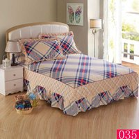 Wholesale Plaid printing cotton bed skirt bedspread Mattress Cover sheet bed covers twin full queen king size bed Bed Skirts Big size X220cm