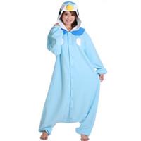 Wholesale Anime Pocket Monster Blue Penguin Piplup Cosplay Hooded Pajamas Hoodie Adult Women Men Unisex Fleece Onesies Party Costumes Halloween Free