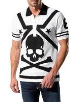 Wholesale summer new PHILIPP PLEIN men s polo t shirt MEN S luxury Lapel t shirt printing t shirt casual cotton polo tee