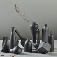 Wholesale Dehua Porcelain quot quot Black Ceramic Decorative Mini Vase set of