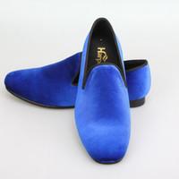 Wholesale Harpelunde Blue Velvet Wedding Shoes For Men Leather Lining Red Bottom Sole US Size