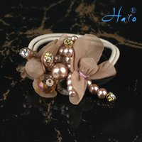 beaded ponytail - Brown Color Crystal Hair Ornament Stretchy Fashion Beaded Flower Handmade Ponytail Holder HP0006