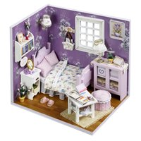 dollhouse furniture - 2016 New Wooden Dollhouse Furniture Kids Toys Handmade Gift Diy Doll House Kits With LED Stuff Home Decor Craft Doll Houses Miniature H001