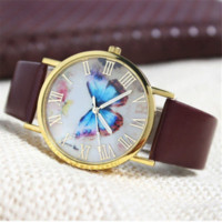 auto styling shop - Best seller Womens Fashion Butterfly Style Leather Band Analog Quartz Wrist Watch for Ladies outdoor travel shopping May10