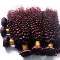 acid wine - 3pcs Burgundy Kinky Curl Hair Weaves J Burgundy Brazilian Hair Bundles Afro Kinky Curly Red Wine Hair Color
