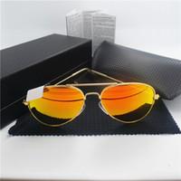 aviator brand sunglasses - 100 Glass Lens High Quality Men Women Sunglasses Vintage glass aviators Mirror Brand Design UV400 With Original Box Case
